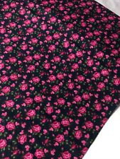 "1 Meter Navy/Pink Roses Print 100% Pure Cotton Fabric 45""Wide Dress Craft"