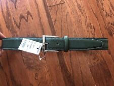 NWT Brooks Brothers Mens Green Leather Belt, Sz 30 Italy