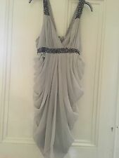 SIZE LARGE CHILLI PEPPER PALE GREY FLOATY DRESS TOWIE/CLUB/PARTY/SUMMER RRP £75