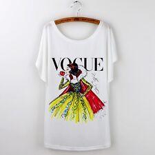 Blanche Neige Vogue Imprimer | Casual White T-Shirt | DISNEY PRINCESS | taille L