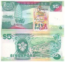 1989 $5 Singapore Banknote - Grade Uncirculated - Pick 19