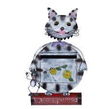 Antiker großer und sehr edler Briefkasten Tierdesign Katze NA12A478-2 Handbemalt
