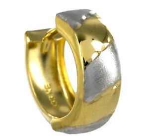 ECHT GOLD *** Herren kleine Single-Creole Ohrring bicolor diamantiert 13 mm