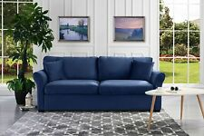 Modern Standard Couch, Ultra Comfortable Velvet Living Room Sofa, Navy Blue
