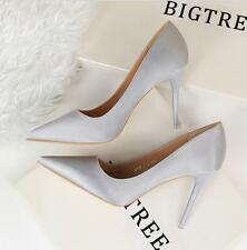 New Ladies Satin Stiletto Evening High Heel Prom Bridal Court Pumps Party Shoes