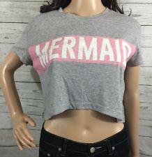 Young Romantics Mermaid Crop Top Small Gray Pink White Casual Sexy Summer Shirt