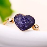 New 18K Gold Plated Dream Starry Sky Solid Heart Ring Size 6 - 9  Fashion Gift