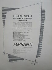 11/61 PUB FERRANTI ELECTRONIC GYROSCOPIC EQUIPMENT GYROS ORIGINAL AD