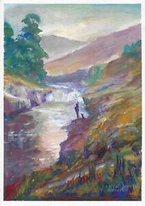 original painting A3 122MA art Gouache Impressionism landscape mountains river
