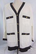 La Chine Plus Sheer Ivory Button Front Long Sleeve Top Shirt Women's 20W - D138