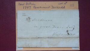 GB POSTAL HISTORY 1747 ENTIRE GOVT.DOCKWRA MARK