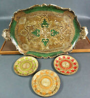 Italian Florentine Florence Tole Tray Green Decorative&Floral Plates Serving Set