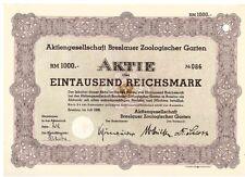 AG Breslauer Zoologischer Garten  1938  BRESLAU / WROCLAW
