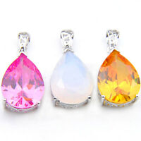 3pcs Rainbow Moonstone Pink Fire Topaz Golden Citrine Gems Silver Pendants Set