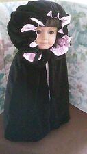 """Handmade Black velvet cloak cape for 18"""" American Girl Doll Pink"""