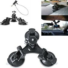 Triple Suction Cup Mount+12in Stainless Steel Tether Lanyard For GoPro HERO All