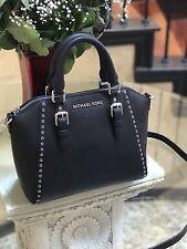 NWT Michael Kors Black Leather Ciara Grommet Satchel Bag Crossbody Purse Black