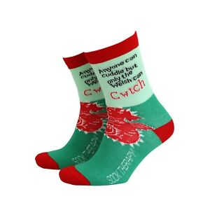 Men's Welsh Cwtch Gift Socks from Sock Therapy by Smiling Faces