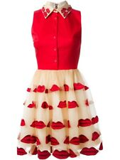 Alice + Olivia Pout Lip Collared Puff Dress Red Embroidered Size 8 NWT
