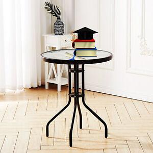 OUTDOOR INDOOR TEMPERED GLASS TOP PATIO TABLE METAL FRAME LEGS GARDEN BISTRO