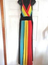 New Multi-Color Sleeveless Color-Block-Polyester Yellow-Red-Blue Maxi Dress M