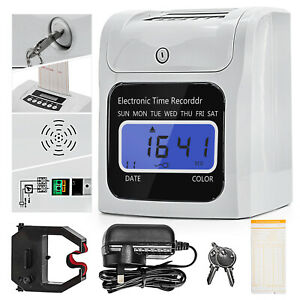 LCD Digital Time Attendance Clock Employee Recorder w/50 Pics Timecards