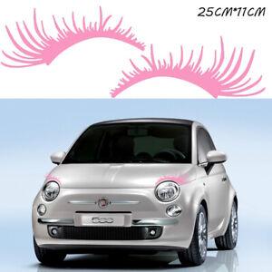 2x PINK Eyelashes Stripe Decal Headlight Fog Eyebrow Stickers For VW Beetle Fiat