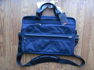 TUMI 'Alpha' Navy Blue Nylon Slim Deluxe Portfolio Briefcase - 26101NVOP NEW