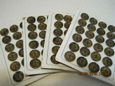 Vintage Buttons on Original Cards 4 cards of 24 Fine Ivory Unused Brown Pattern