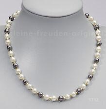 UNIKAT Kette Collier aus weissen und tahiti-grauen Perlen Geschenk 1712