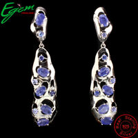 Oval Cut 6x4mm Top Blue Tanzanite Unheated White Cz 925 Sterling Silver Earrings