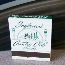 Rare Vintage Matchbook W9 Circa 1940 Washington Seattle Inglewood Country Club