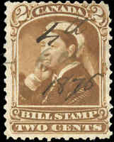 1868 Used Canada Third Issue F Van Dam #FB38 Federal Bill Stamp