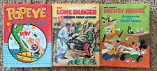 Lot Of 3 Whitman Big Little Books Mickey Mouse, Popeye, Lone Ranger