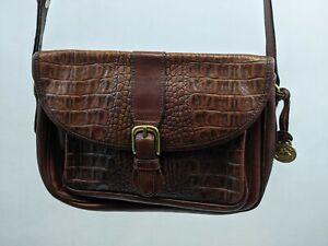 BRAHMIN BROWN leather SATCHEL CROCO HANDBAG SHOULDER BAG CROSSBODY MADE IN USA