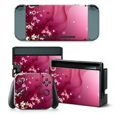 Pink Flowers Nintendo Switch Protective Skin 4 Pc Sticker Set - #0368