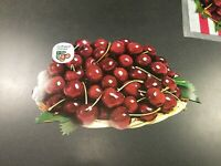 """vintage 15"""" two sided grocery store produce display ad. Northwest Cherries"""