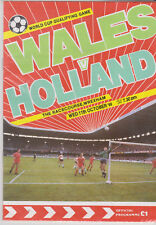 Programme / Programma Wales v Holland 11-10-1989 FIFA World Cup 1990 Qualifier