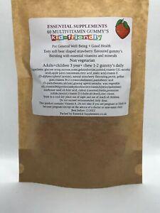 Multivitamin Strawberry Flavour 60 Gummy Adult & Child 3 Non Vegetarian