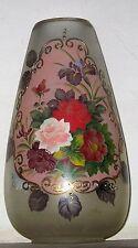 LARGE GLASS VASE SIGNED LeMans HAND PAINTED R. LALIQUE ERA LEMANS VASE.