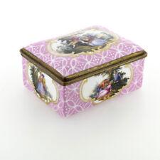 Antique Pink Ground Enamel Table Snuff or Trinket Box - Battersea Bilston VR
