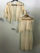 Antique embroidered net skirt and blouse with 2 flounces