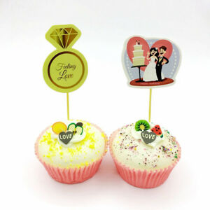 24 Diamant Ring Love Toppers Topper Cupcake Party Hochzeit Picks Dekoration
