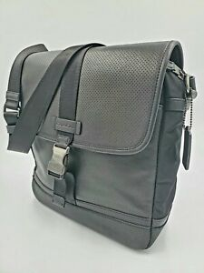 Coach Black Leather Varick Perforated Map Crossbody Messenger Shoulder Bag 71552