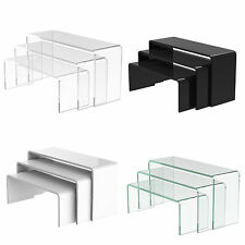 Acrylic Nesting Plinths Riser Shelf Shop Counter Display Stand Clear Black White