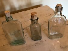 Vintage lot of 3 glass bottles with new corks (empty), for decoration