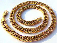 14K GOLD FILLED FINISH SOLID HEAVY 10MM MIAMI CUBAN CURN LINK NECKLACE CHAIN 24