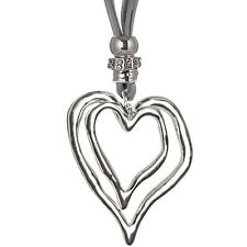Large silver twin heart pendant grey suede long necklace costume jewellery