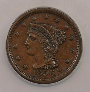 1856-P 1856 Liberty Head Large Cent 1c N-6 Upright 5 ICG MS63 BN