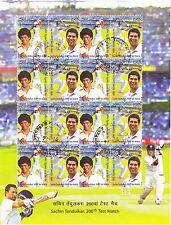 Indien India 2013 Maxi-Block Cricket-Spiel Sachin Tendulkar, Sheetlet gestempelt